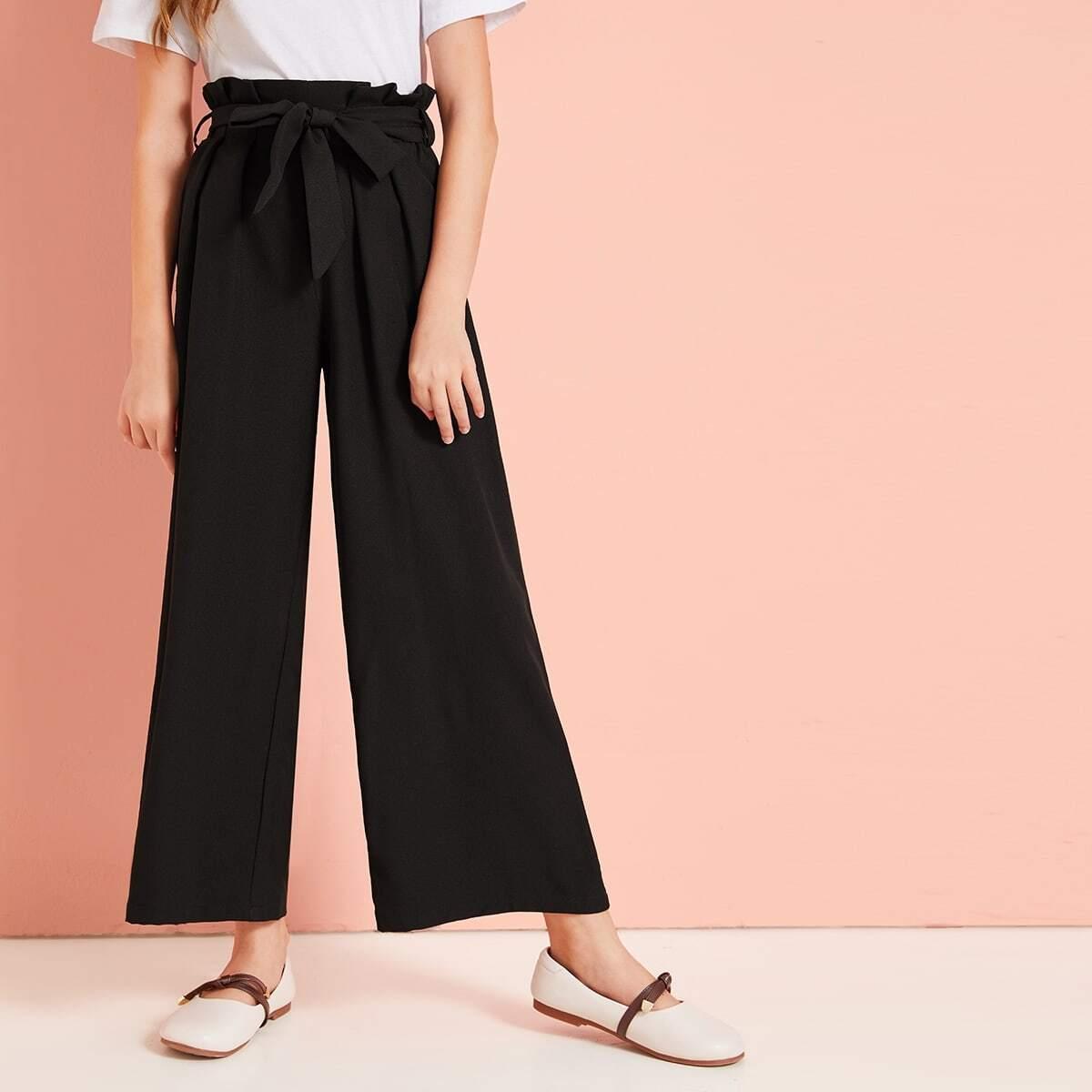 Широкие брюки с поясом и присборенной талией для девочек