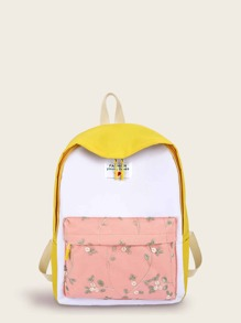 Floral Embroidered Pocket Front Backpack