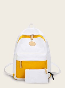 Two Tone Nylon Backpack With Clutch