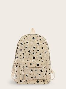 Star Print Pocket Front Backpack