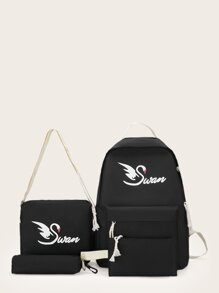 Swan Print Backpack With Pencil Case 4pcs