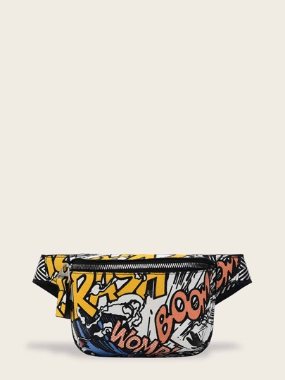 Zip Front Letter Print Fanny Pack