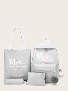 Slogan Print Backpack With Shopper Bag 4pcs