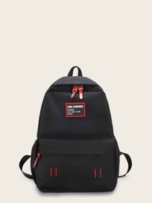 Slogan Patch Decor Backpack