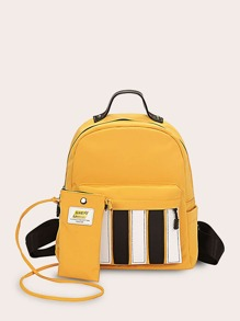 Pocket Front Backpack With Crossbody Bag