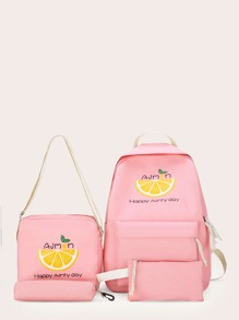 Fruit Print Backpack With Pencil Case 4pcs