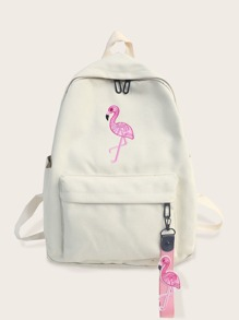 Flamingo Embroidered Canvas Backpack