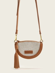 Tassel Decor Woven Crossbody Bag