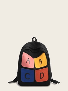 Letter Print Color Block Backpack