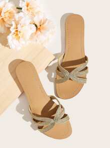 Plaited Detail Open Toe Sliders