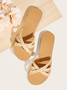 Plaited Cross Strap Sliders