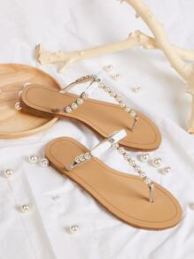 Faux Pearl Beaded Toe Post Sliders