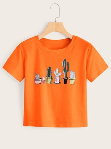 Neon Orange Cactus Print Tee