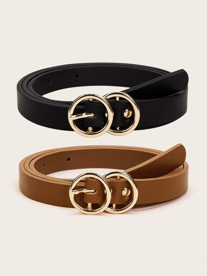 Double O-ring Buckle Belt 2pcs