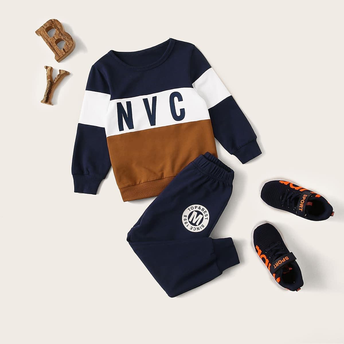 Контрастный свитшот с текстовым принтом и брюки для мальчиков