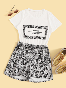 Letter Print Tee With Snakeskin Print Belted Shorts