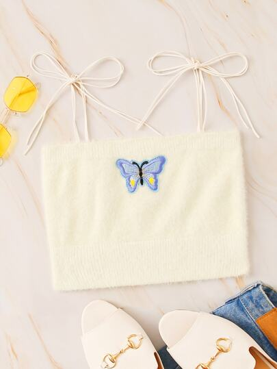Butterfly Embroidered Fuzzy Knotted Knit Top