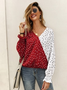 Two Tone Polka Dot Blouse