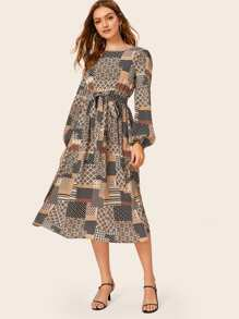 Scarf Print Patchwork Belted Dress