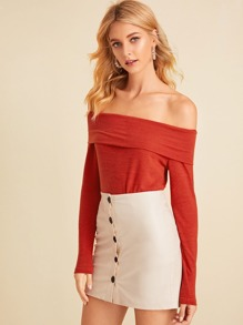Solid Off The Shoulder Sweater