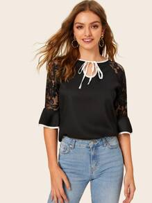 Lace Panel Binding Trim Knot Blouse