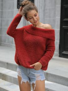 Off The Shoulder Solid Pullover Sweater