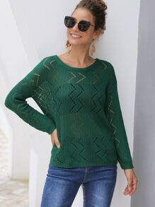 Pointelle Knit Solid Pullover Sweater
