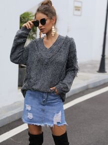 V-neck Space Dye Raw Hem Pullover Sweater