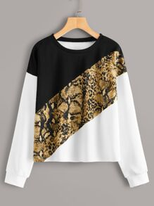 Cut And Sew Snakeskin Print Sweatshirt