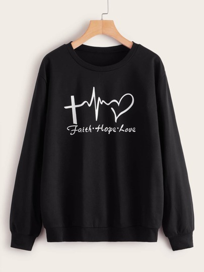 Letter Graphic Round Neck Sweatshirt