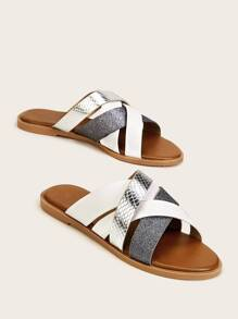 Metallic Snakeskin Cross Strap Sliders