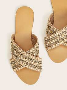 Studded Decor Woven Cross Strap Sliders
