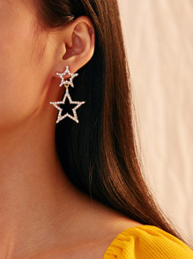 Rhinestone Engraved Double Star Earrings 1pair