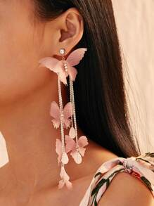 Butterfly Tassel Drop Earrings 1pair