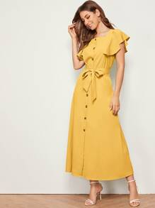 Button Front Butterfly Sleeve Belted Dress
