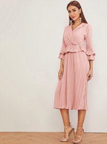 Surplice Neck Pleated Hem Dress