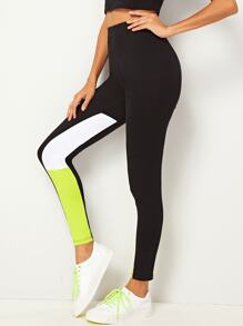 Contrast Panel Skinny Leggings