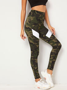 Contrast Panel Camo Print Leggings