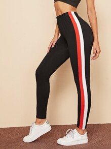 Contrast Striped Side Elastic Waist Leggings