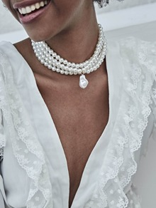 Layered Faux Pearl Design Choker 1pc