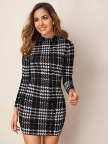 Mock-neck Long Sleeve Plaid Dress