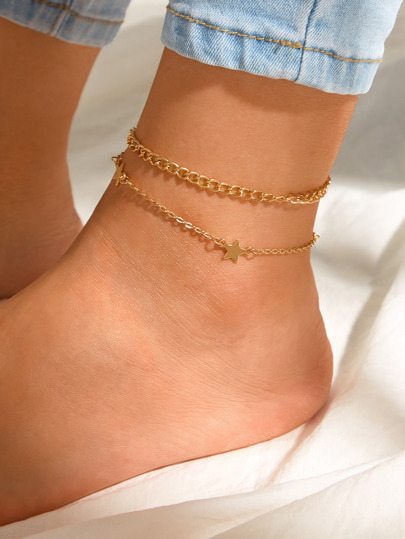 Star Decor Layered Chain Anklet 1pc