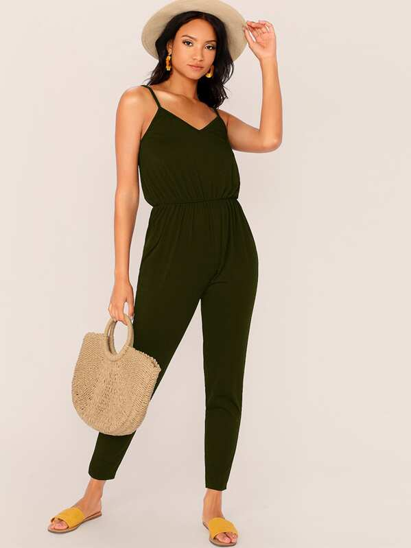 95d57b298 Solid Slip Jumpsuit | SHEIN UK