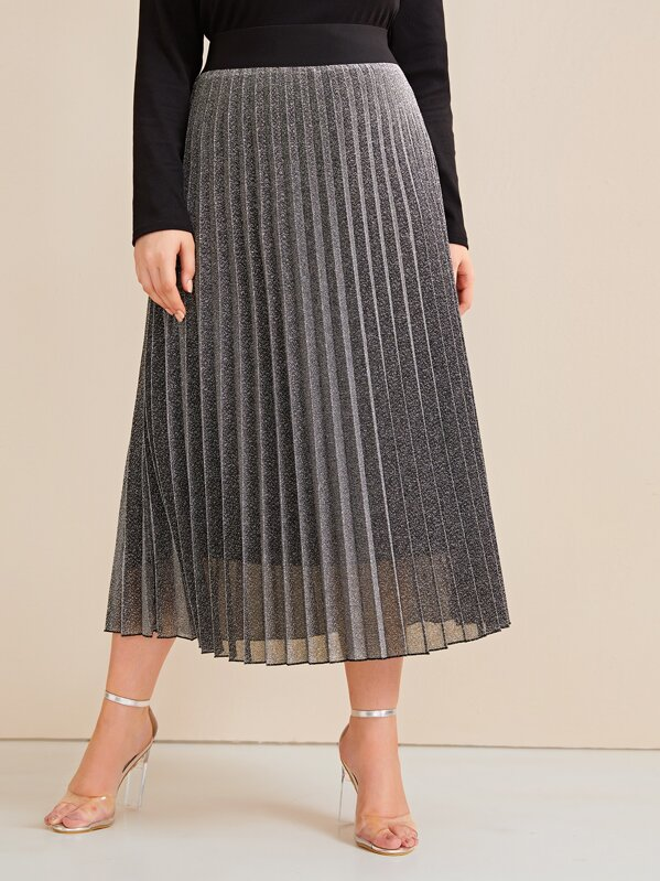 Shein Plus Contrast Wide Waistband Glitter Pleated Skirt by Sheinside