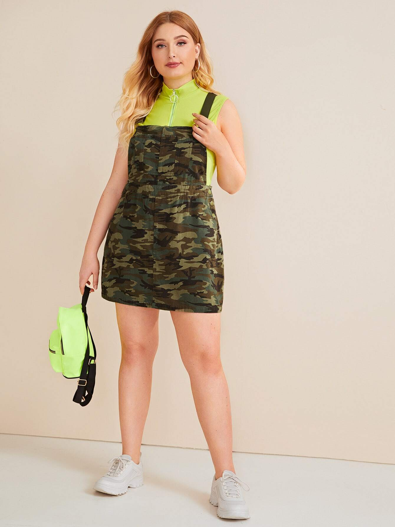 Plus Camouflage Print Pocket Front Pinafore Dress