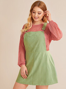 Plus Pocket Solid Pinafore Dress