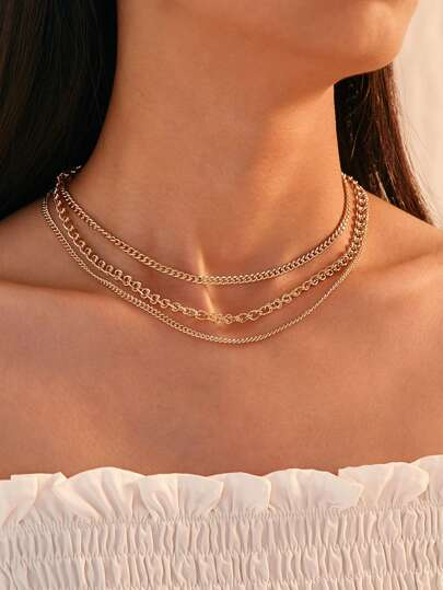 Multi Layered Chain Necklace 1pc