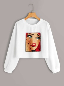 Figure Print Long Sleeve Sweatshirt