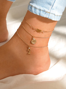 Key & Heart Charm Chain Anklet 3pcs