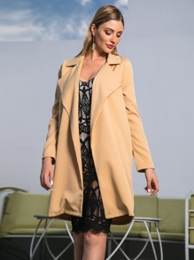 Double Crazy Solid Waterfall Neck Trench Coat